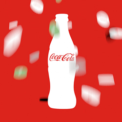 Coca-Cola bottle with flying caps