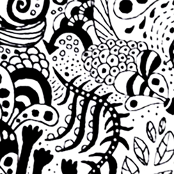handdrawn black and white coral reef-like shapes