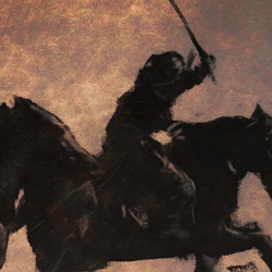 Painting of Samurai warrior riding on horse